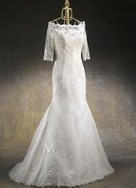 3/4 sleeve wedding dress, lace... fitted bodice with semi-trumpet bottom