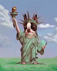 Boston Terrier dressed as Statue of Liberty commission