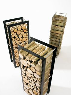 ❧ WoodStock wood rack and chariot by Dirk Wynants of Extremis