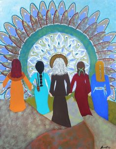 Blessing of a Women's Circle an Original Folk by JeanneFryArt, $111.00