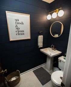 49 Affordable Guest Bathroom Makeover Ideas On A Budget - Bathroom- Guest - Bathroom Decor Bathroom Plans, Bathroom Makeover, Amazing Bathrooms, Navy Blue Bathrooms, Basement Bathroom Design, Round Mirror Bathroom, Bathroom Design, Black Walls, Small Bathroom Ideas On A Budget