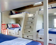 ...  of there being a traditional ladder to access the top bunks in this kids' room, a cleverly designed stack of drawers acts as a staircase. Description from forbes.com. I searched for this on bing.com/images
