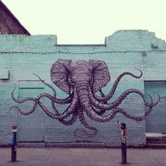 Elephant-Octapus is pretty much the greatest combination of 2 animals ever! Graffiti Art, Brick Lane
