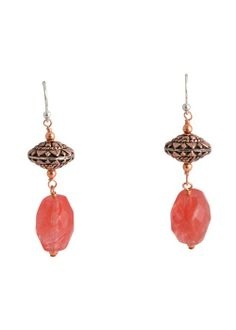 Copper Bali Bead and Cherry Quartz Earring