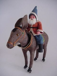 Antique-German-Santa-Claus-Riding-Donkey-Nodder-on-Wheels-Large-Size