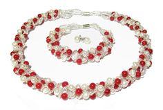 élégant corail rouge naturel et d'eau douce perle de culture collier, bracelet et boucles d'oreilles