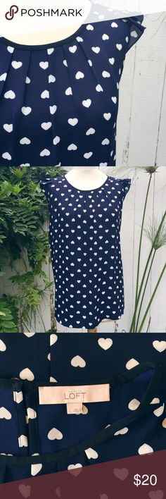 LOFT Navy & White Heart Print Top NWOT Beautiful top! Pleated neckline, flutter cap sleeves. Single button closure in back. Excellent condition. Comes from a smoke- and pet-free house. Bundle for additional savings! LOFT Tops Blouses