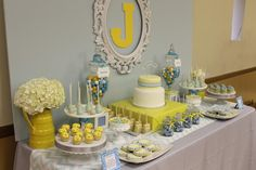 blue grey and yellow baby shower