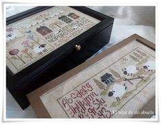 JARDIN PRIVÉ: HISTOIRES DE MOUTONS , cajas con punto de cruz