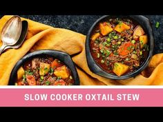This Slow Cooker Oxtail Stew is hearty, mouthwatering and incredibly tender! Yes, Oxtail! Are you intrigued? Keep reading to see how you can turn this under. Oxtail Stew Slow Cooker, Oxtail Meat, Oxtail Soup, Salted Caramel Fudge, Salted Caramels, South African Recipes, Ethnic Recipes, Russian Recipes, Curry Recipes