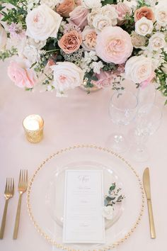 Ideas for a vintage glam NYC elopement with the romance of Old New York at a Midtown Manhattan ballroom with blush pink and gold accents! Blush Wedding Theme, Pink And Gold Wedding, Blush Pink Weddings, Blush And Gold, Wedding Themes, Wedding Table, Wedding Colors, Wedding Ideas, Pink Wedding Decorations