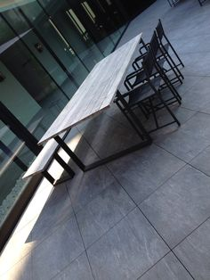 Steel and wood furniture - brand??  Parkhotel Kortrijk - outdoor area