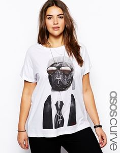 Gah! Sold out :( I need this!  ASOS CURVE T-Shirt With Icon Pug