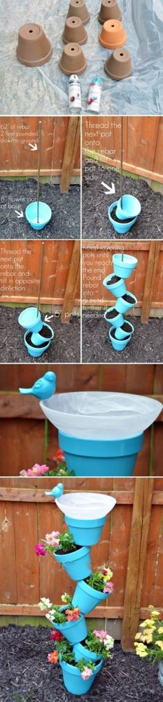 DIY planter tower. Love this one because it's a little more fun, not prim and proper and also utilizes the majority of the soild for plants, instead of holding the pot on top of it. Cute finisher: the  bird bath :)