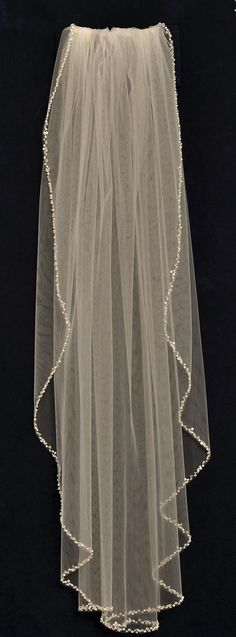 Glistening Pearl and Crystal Beaded Fingertip Length Wedding Veil -- Affordable Elegance Bridal -