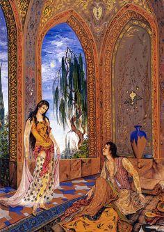 رویای شبانه 1342 محمود فرشچیان Sueño de medianoche 1936 Obras maestras de la miniatura persa Artista Profesor Mahmud Farshchian