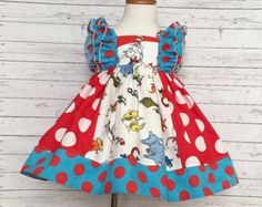 Dr. Seuss ruffle dress handmade in the USA by AvaRoseCouture