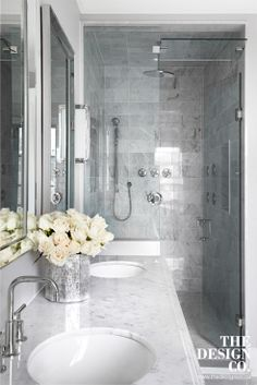 marble shower, marble subway tile, walk-in shower,