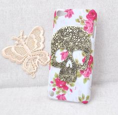 rose flower  hard case for apple iphone 4s or 5 ipod touch 5  Protective cover handmade with bronze skull / ghost