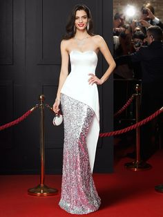Mermaid / Trumpet Sweetheart Floor Length Satin Sequined Prom / Formal Evening Dress with Sequin Pleats by TS Couture® Evening Dresses Australia, Evening Dresses Online, Cheap Evening Dresses, Evening Gowns, Celebrity Inspired Dresses, Celebrity Dresses, Celebrity Style, Couture Dresses, Fashion Dresses