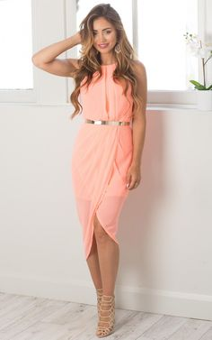 Night Lights dress in neon coral