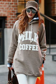 South Korea, Korean Fashion, Hoods, Long Sleeve Shirts, Graphic Sweatshirt, Studio, Printed, Sweatshirts, Sweaters