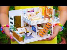 4 DIY Miniature Dollhouse Rooms - YouTube