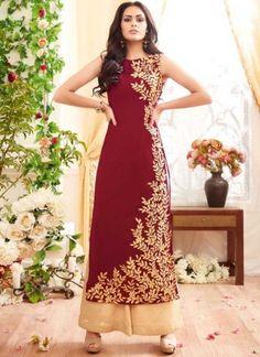Dark Pink Embroidery Work Georgette Santoon Designer Long Pakistani Palazzo Suit http://www.angelnx.com/Salwar-Kameez