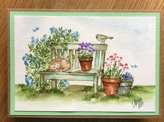 Art Impressions Rubber Stamps: Ai Wonderful Water Color.  Handmade watercolor card. Wood bench, cat, bird, flowers, pots, foliage, grass
