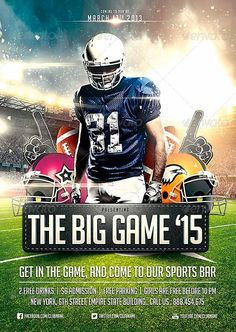 Big Game Football Flyer Template - http://www.ffflyer.com/big-game-football-flyer-template/ A Fresh Superbowl flyer template, with dramatic lighting effects, to give it that professional look.. the helmets can be easily edited, you can change their color/logo via smart objects, to match the competing teams..  You can easily change Texts, Colors, Add/Remove objects to this layered PSD , To get new versions of the design.. What you see is what you get… all elements shown a