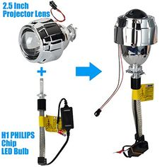 Racbox R4 PRO H1 LED Headlight Bulb 40W 4800LM + 2.5 inch Mini Projection Lens High Low Beam Projector with H4/H7 Socket Rings for H1 Bulb -- Awesome products selected by Anna Churchill