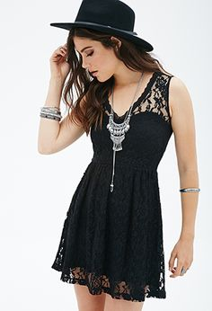 Fit & Flare Lace Dress | FOREVER21 - 2000058667 I WANT THIS DRESS IN WINE COLOR
