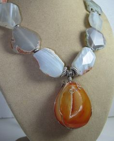 Huge Agate Druzy Pendant Agate Slab Beaded Sterling Necklace!! | GoGemCreations - Jewelry on ArtFire