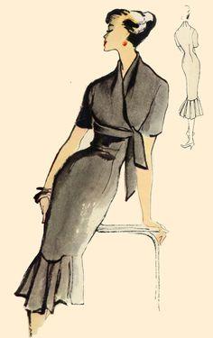 Sleek Burda 1956 dress with hemline interest and unique waist treatment. Notice the sleek do doesn't detract!