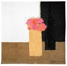 Tapestry   Nature morte au pot de géraniums et à la bouteille noire—200×200 cm, Bernard Cathelin - official website