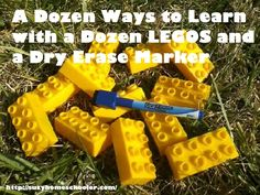 Ways to learn with Legos and dry erase markers. I can't wait to try this! Writing verses on these would be so much fun, and include tactile learning. 2 thumbs up.