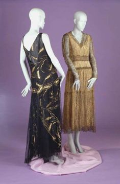 Poiret evening gown (left), ca. Evening gown by unknown maker, ca. 1919 (right). Great Gatsby Fashion, 20s Fashion, Fashion Story, Art Deco Fashion, Vintage Fashion, Retro Fashion, Vintage Dresses, Vintage Outfits, 1920s Outfits