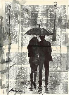 Original Ink Drawing Sketch Book Collage Love Couple Rain by rcolo, $29.00