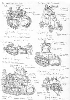 Sketches- Imperial armoured vehicles by PenUser on DeviantArt Warhammer 40k Rpg, Soldier Drawing, Valkyria Chronicles, War Comics, Sketches Tutorial, Art Challenge, Dieselpunk, Drawing Reference, Art Sketches