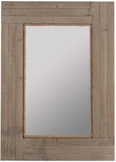 The attractive Hatteras Mirror will bring a sense of the sea to your home. The wooden rectangular frame is constructed in a plank style with a driftwood gray wash finish, combining with the rope bordering the mirror to create a lovely ocean theme.