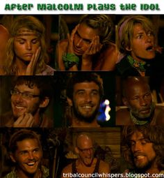 Faces of the contestants of Survivor Caramoan when Malcolm Freberg plays his second hidden immunity idol
