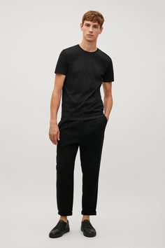 COS image 1 of Round-neck t-shirt in Black