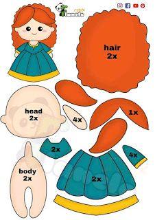 Felt Doll Patterns, Primitive Doll Patterns, Felt Animal Patterns, Felt Crafts Patterns, Stuffed Toys Patterns, Felt Baby, Disney Crafts, Felt Toys, Handmade Crafts