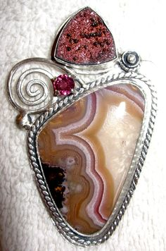 Chelle' RAwlsky drusy, rhodolite garnet, laguna agate sterling silver pendant. OOAK Now available in Ebay under annipearls