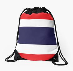 'Flag Of Thailand' Drawstring Bag by ArgosDesigns Costa Rica, Thailand Flag, Long Hoodie, Laptop Sleeves, Chiffon Tops, Drawstring Backpack, Boy Or Girl, Classic T Shirts, T Shirts For Women