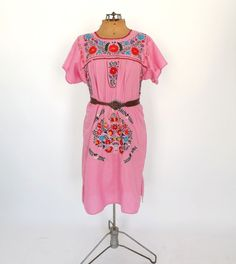 Vintage 70s 80s Mexican Folk Dress Pink Cotton Floral Embroidered Boho Summer Sundress Indie Folk Hippie Peasant Festival Medium