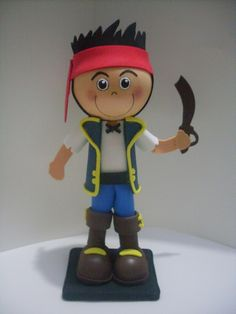 Jake the Neverland Pirate doll in fun foam and clay...this would have been perfect for my grandson's birthday theme, last year...very, very cute!
