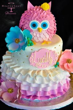 owl birthday cakeFondant Owl Cake Topper Owl Cake birthday party girl boys kids kid chil children Owls Owl hibou gateau.