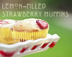 Lemon curd filled strawberry muffins: Using avocado and coconut milk instead of butter and egg! Hmmm   via thesimplelens.com blog