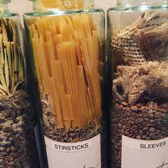 Pasta as coffee stir sticks instead of plastic. I like! #zerowaste #greenliving